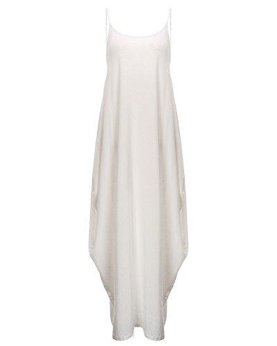StyleDome Vestido Maxi Largo Casual Playa Fiesta Noche Cóctel Algodón Cuello V Tirantes para Mujer Blanco