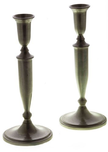 Pewter Shabbat Candlesticks with European Design and Inscribed Lines