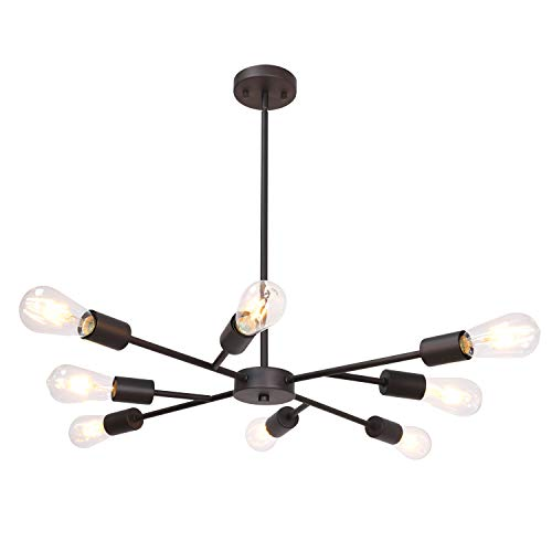 - Lucidce Modern Sputnik Chandelier Lighting 8 Lights Oil Rubbed Bronze Finish with Adjustable Arms Mid Century Pendant Light Vintage Industrial Farmhouse Ceiling Light Fixture