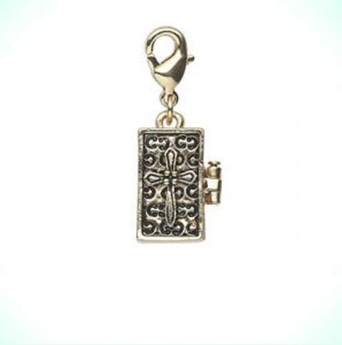 Antiqued Gold Rectangular Prayer Box Locket with Cross Clip-On Charm or Pendant