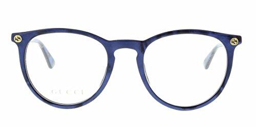 Gucci GG 0027O 005 Blue Plastic Round Eyeglasses ()