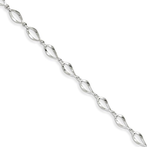 - 14k White Gold Link Bracelet 7.25 Inch Chain Fancy Fine Jewelry For Women Gift Set