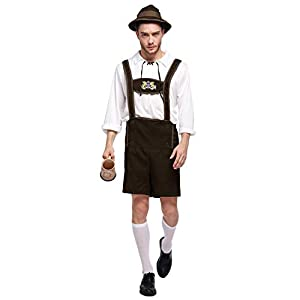 Quesera Men's Oktoberfest Costume Set German Bavarian Guy Outfits Lederhosen Kit, Coffee, Tag Size XL=US Size M