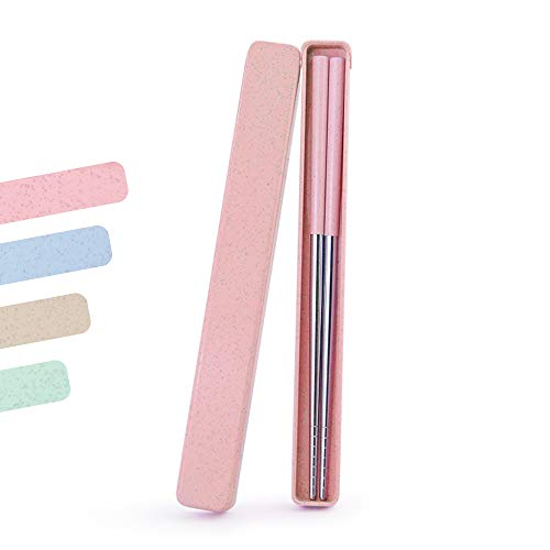Portable Chopstick,ArderLive 18/8 Stainless Steel Chopstick with Case,Reusable Travel Utensil for Camping,Travel,Bento Box.(8.7in,Pink)