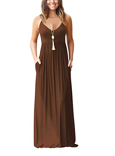 - Chic-Lover Women's Loose Plain Maxi Dress Casual Flowy Vacation Long Dresses with Pockets (L, Coffee)