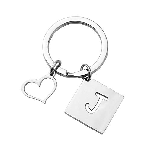 bobauna Stainless Steel Cut Out Alphabet Initial Letter Keychain Key Ring Personalized Gift (Letter J Keychain)