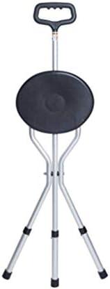 HUYYA 座席付き杖、アルミ合金3フィート滑り止め多機能超軽量折りたたみやすい持ち運びに便利丈夫なステッキ,Silver