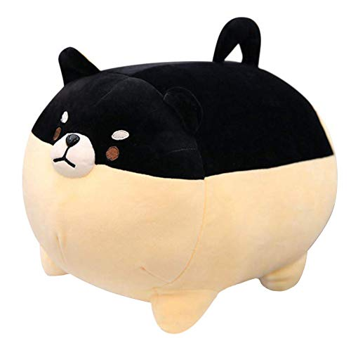 (Auspicious beginning Stuffed Animal Shiba Inu Plush Toy Anime Corgi Kawaii Plush Soft Pillow Doll Dog, Plush Toy Best Gifts for Girl Boy (Black, 15.7