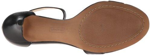 STEVEN by Steve Madden Frauen Viienna Offener Zeh besonderer Anlass Leder Knoechel Riemen Sandalen Black Leather