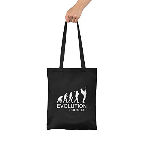 "Bolsa de tela ""Evolution Rockstar"" - tote bag shopping bag 100% algodón LaMAGLIERIA, Negro"