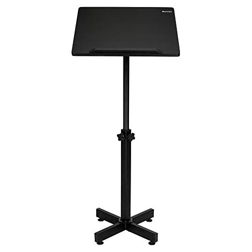 Bonnlo Classic Lectern Stand, Height Adjustable Mobile Podium, Multi-Purpose Tabletop for Speech, Lecture, Church, Reading or Laptop Desk with Edge Stopper, ()