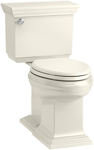 Kohler Memoirs Biscuit - KOHLER K-6669-96 Memoirs Stately Comfort Height Elongated 1.28 GPF Toilet with Aqua Piston Flush Technology, Concealed Trap Way and Left-Hand Trip Lever (2 Piece), Biscuit