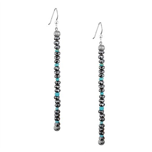 American West Sterling Silver Hematite Blue Turquoise Beaded Earrings