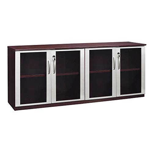 - Mayline VLCGMAH Napoli Low Wall Cabinet with Glass Doors, Mahogany Veneer, Clear Glass