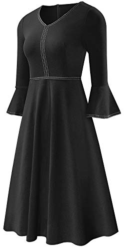HOMEYEE Women's Vintage V Neck Bell Sleeves Swing Casual Cocktail Party Dresses A221
