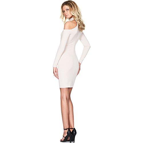 Longwu Vestidos sin tirantes de Bodycon del partido de las mujeres del vendaje del halter de manga larga atractiva Blanco lechoso
