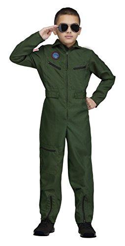 Fun World Little Boy's Top Gun Aviator Kids Costume Childrens Costume, Green, Large -