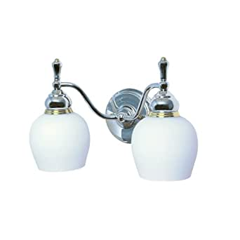 Moen 18010-16 Monticello Vanity, 2 Light, Opal White Glass with Brass and Chrome Finish