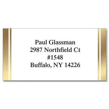 Amazon com : White & Gold Foil Border Return Address Labels