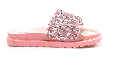 Forever Link Womens Glitter Slide In PVC Molded Footbed Flatform Sandal Slippers Pink qYqahUe