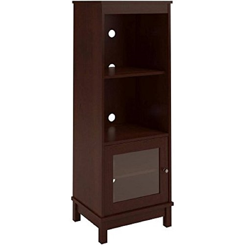 Media Storage Bookcase Tower Multimedia Organizer Shelf Cabinet Sliding Glass Doors and Contemporary Clean Line Aesthetics with Dimensions: 19.69″L x 15.69″W x 53.81″H, (1, Resort Cherry)
