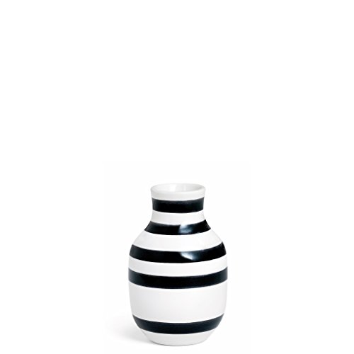 Kahler Omaggio Ceramic Vase - Height 125mm (4.9 In.) Diameter 80mm (3.1 In.) - Handmade Faience (White / Black) (Hand Made Vase compare prices)