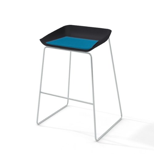 Steelcase Turnstone Scoop Stool with Cobblestone Seat, Blue Jay Fabric