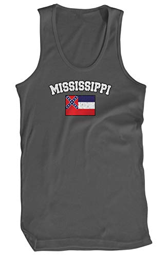 Amdesco Men's Mississippi State Flag Tank Top, Charcoal Grey - Tank Confederate Flag