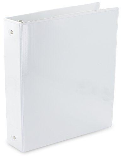 Emraw Heavy-Duty 3-Way View White 3-Ring Binder 1.5-Inch - Used for Papers, Loose-Leafs, Business Cards, Compact Discs, Etc. Cards White Business Card Discs