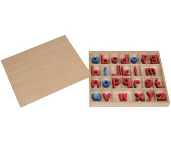 Montessori Small Wooden Movable Alphabet with Box (Red