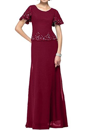 Promkleider Abendkleider Festlichkleider Burgundy La Marie Partykleider Kurzarm Braut Damen Fuchsia Brautmutterkleider 6B1Tq6F