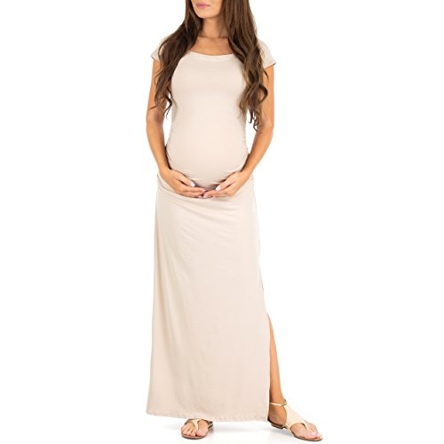 Women's Shortleeve Ruched Bodycon Maternity Dress with Side Slits - Made in USA by Mother Bee