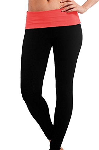 - Popular Basics Women's Athletic Yoga Leggings with Fold Over Waist (Small, Black Neon Coral)