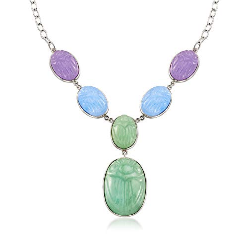 Ross-Simons Multicolored Jade Scarab Necklace in Sterling -