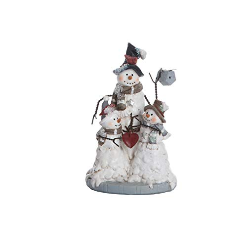 (Transpac Imports D0497 Resin Wire Arm Christmas Snowman Family Figurines White)