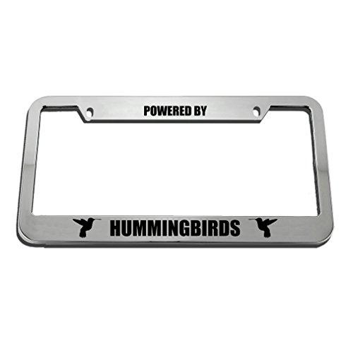 Speedy Pros Powered by Hummingbirds Zinc Metal License Plate Frame Car Auto Tag Holder - Chrome 2 Holes