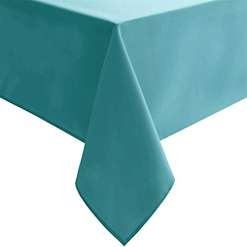 Homedocr Rectangle Tablecloth Turquoise – 54 x 108 inch – Stain Resistant, Washable and Spillproof Oblong Polyester Table Cloth for Holiday Dinner, Kitchen and Dining