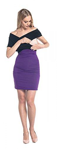 Happy Mama. Para Mujer Vestido Ajustado premamá de lactancia. Cuello V. 569p Púrpura Y Negro