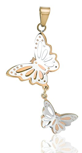 Stainless Steel Double Butterfly Necklace (Gold) - 6
