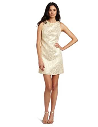 Maggy London Women's Vintage Feather Brocade Shift Dress, Ivory/Gold, 6