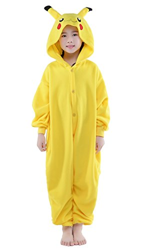 NEWCOSPLAY Kids Plush One Piece Cosplay Onesies Costume (115, Pikachu)]()