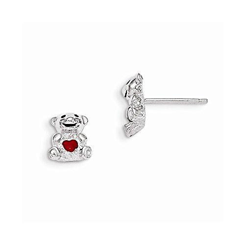 Teddy Bear Enamel Earrings - Best Designer Jewelry Sterling Silver Madi K w/Enamel Teddy Bear Post Earrings