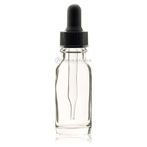 Premium Vials B35-12CL Boston Round Glass Bottle with Dropper, 1/2 oz Capaciy, Clear (Pack of 12)