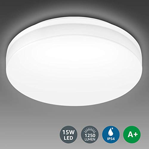 LE Flush Mount Ceiling Light Fixture, Waterproof IP54 LED Ceiling Lights for Bathroom, Porch, 8.7 Inch 15W (100W Equivalent) 1250lm Non Dimmable Ceiling Lamp for Kitchen, Bedroom, Living Room, Hallway