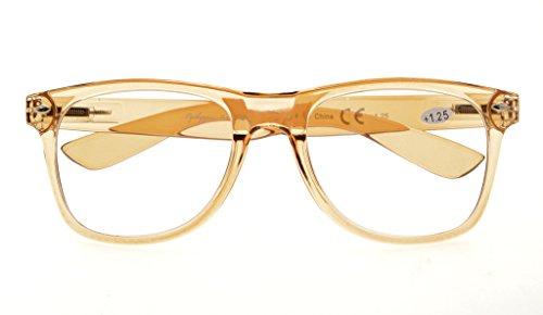 bisagras gafas primavera grandes simple Cómodos Eyekepper lectura 3 Amarillo ampliación lectores Marrón 00 RX qgtn0