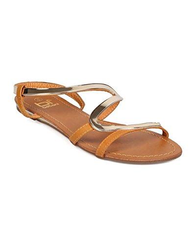 Betani Eh68 Kvinnor Läder Öppen Tå Metallic Zig Zag Slingback Flat Sandal - Kastanj