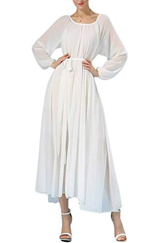 Buenos Ninos Women's Long Sleeve Crew Neck Loose Chiffon Long Maxi Dress with Belt White M -