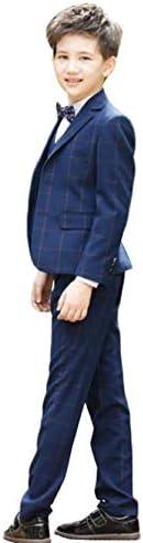 ボーイズ スーツセット 男の子 フォーマルウェア チェック柄 子供服 セットアップ ジャケット ズボン ベスト シャツ 蝶ネクタイ 5点セット チェック柄 紳士 入学式 卒業式