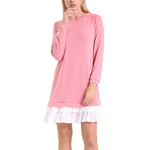 ENIDMIL Womens Round Neck Long Sleeve Dress Contrast Color Patchwork Casual Dress(Pink,S)