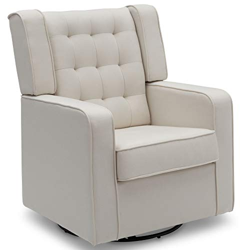 (Delta Children Milan Upholstered Glider Swivel Rocker Chair, Cream)